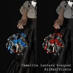 Camellia lantern bouquet silblue / silred AD