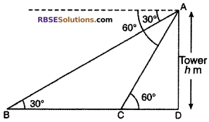 RBSE Solutions for Class 10 Maths Chapter 8 Height and Distance Miscellaneous Exercise 34