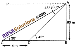 RBSE Solutions for Class 10 Maths Chapter 8 Height and Distance Miscellaneous Exercise 23