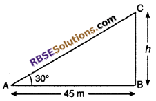 RBSE Solutions for Class 10 Maths Chapter 8 Height and Distance Miscellaneous Exercise 12