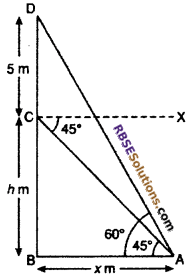 RBSE Solutions for Class 10 Maths Chapter 8 Height and Distance Additional Questions 54