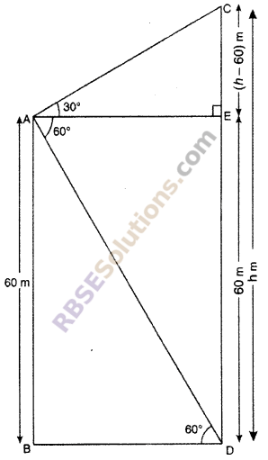 RBSE Solutions for Class 10 Maths Chapter 8 Height and Distance Additional Questions 50