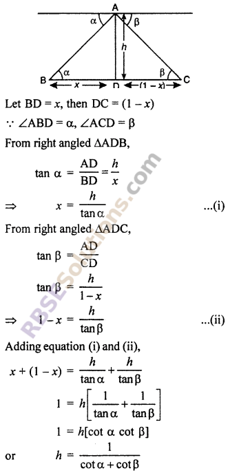 RBSE Solutions for Class 10 Maths Chapter 8 Height and Distance Additional Questions 31
