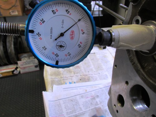 Dial Indicator Zeroed for End Float Measurement with Original Thrust Washers