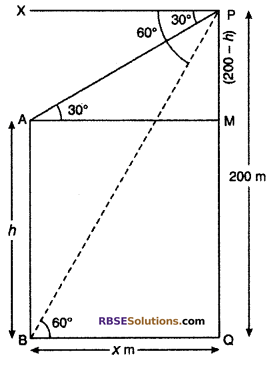 RBSE Solutions for Class 10 Maths Chapter 8 Height and Distance Additional Questions 17