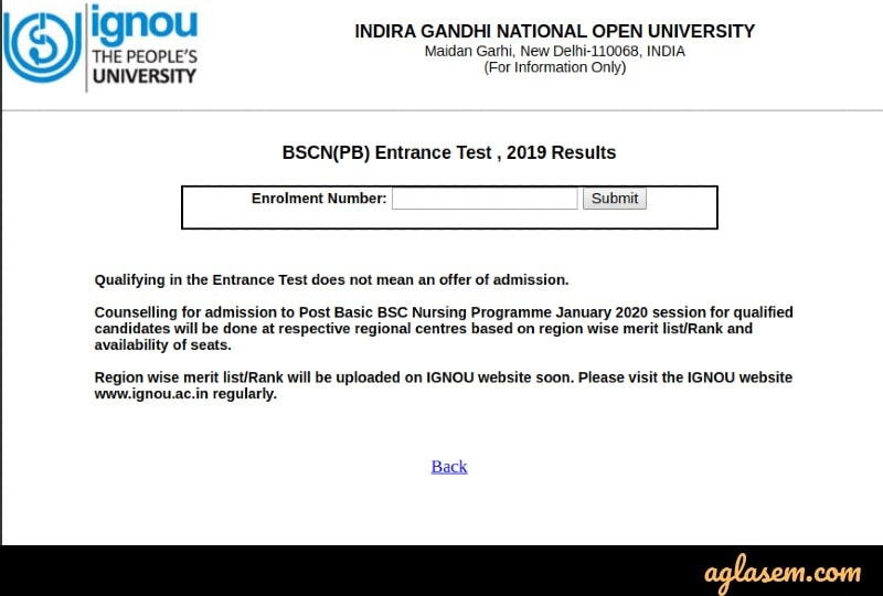 IGNOU Post Basic B.Sc Nursing 2021 Result