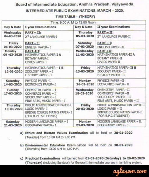 AP Inter 1st Year Time Table 2020