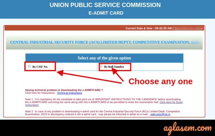 UPSC CISF AC LDCE (Exe) Admit Card 2022