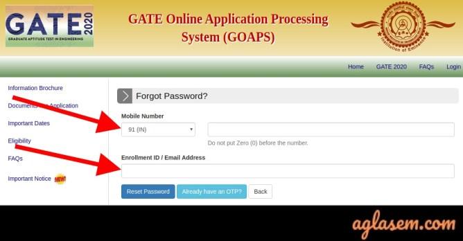 Forgot GATE 2021 Password