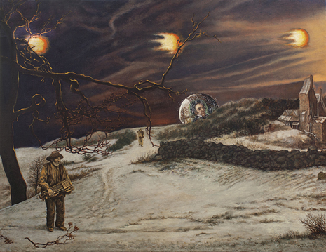 Mañas Schubert. El viaje de invierno. 65x50cm óleo tela Uti 465
