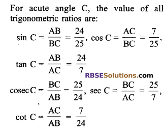 RBSE Solutions for Class 9 Maths Chapter 14 Trigonometric Ratios of Acute Angles Ex 14.1 2