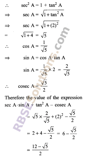 RBSE Solutions for Class 9 Maths Chapter 14 Trigonometric Ratios of Acute Angles Ex 14.2 11