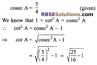 RBSE Solutions for Class 9 Maths Chapter 14 Trigonometric Ratios of Acute Angles Ex 14.2 1