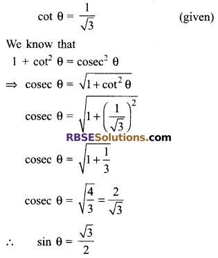 RBSE Solutions for Class 9 Maths Chapter 14 Trigonometric Ratios of Acute Angles Miscellaneous Exercise 28