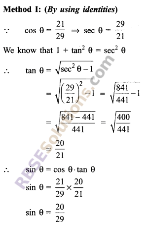 RBSE Solutions for Class 9 Maths Chapter 14 Trigonometric Ratios of Acute Angles Miscellaneous Exercise 15