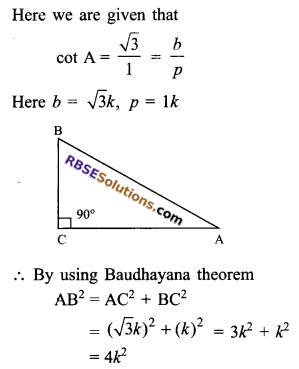 RBSE Solutions for Class 9 Maths Chapter 14 Trigonometric Ratios of Acute Angles Ex 14.1 13
