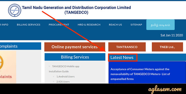 Official website of TANGEDCO's