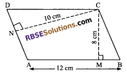 RBSE Solutions for Class 9 Maths Chapter 10 Area of Triangles and Quadrilaterals Additional Questions 8