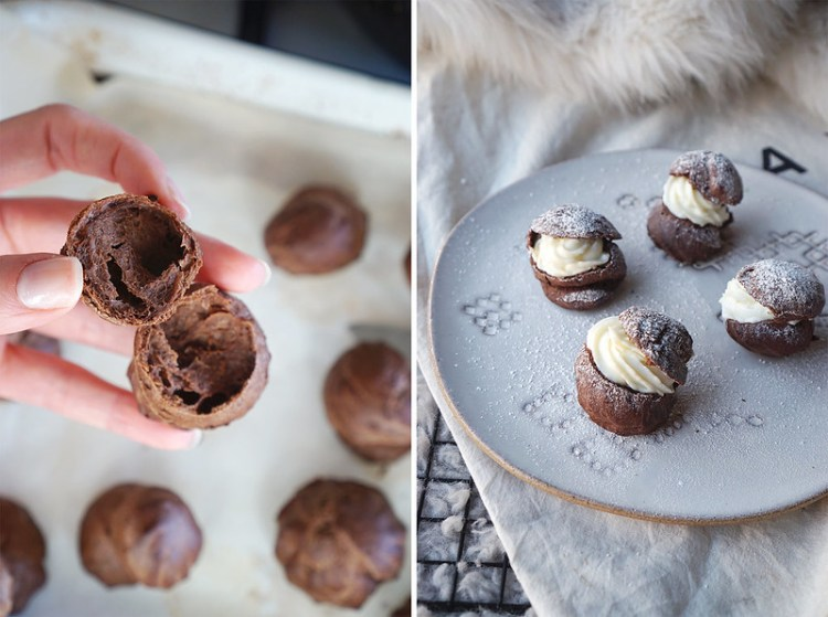 Airy inside chocolate profiteroles with sweetened cream cheese filling and a dusting of icing sugar | made with gluten free chocolate choux pastry