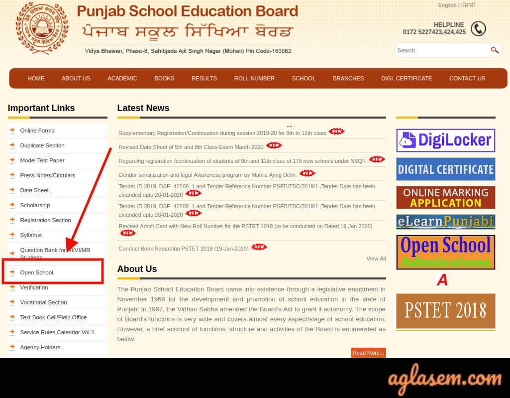 Punjab Open 12th Admit Card March 2020