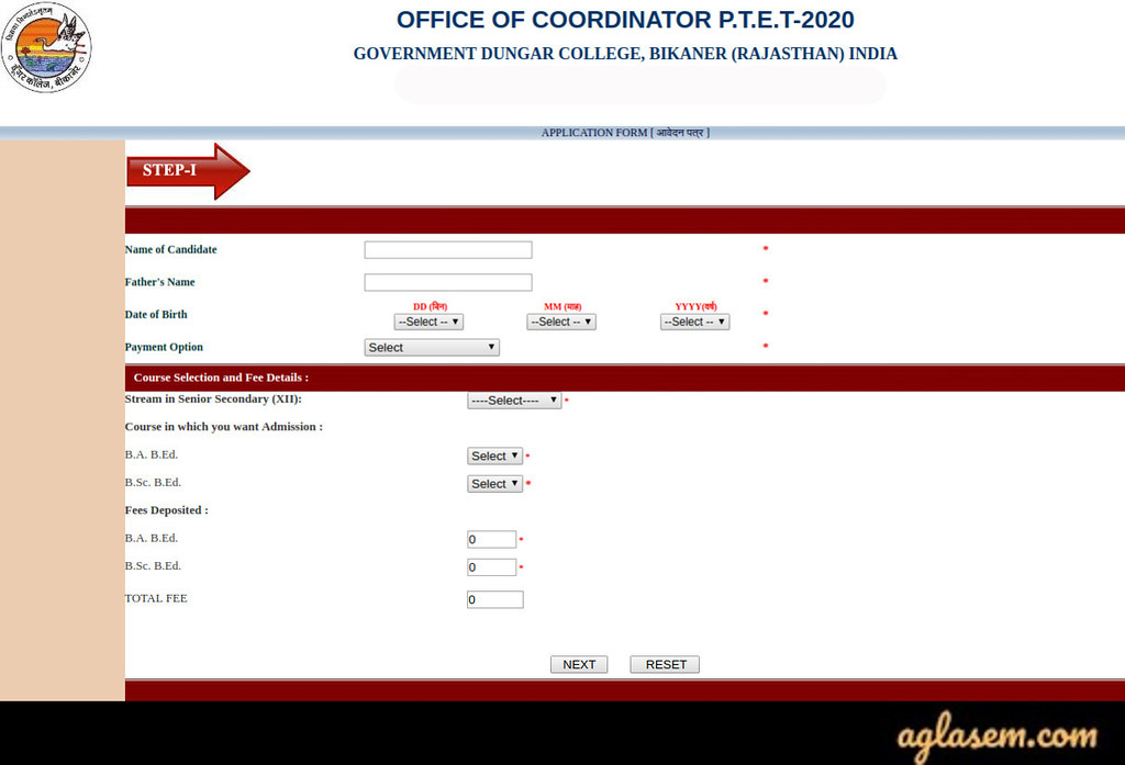 Rajasthan PTET Application Form 2021