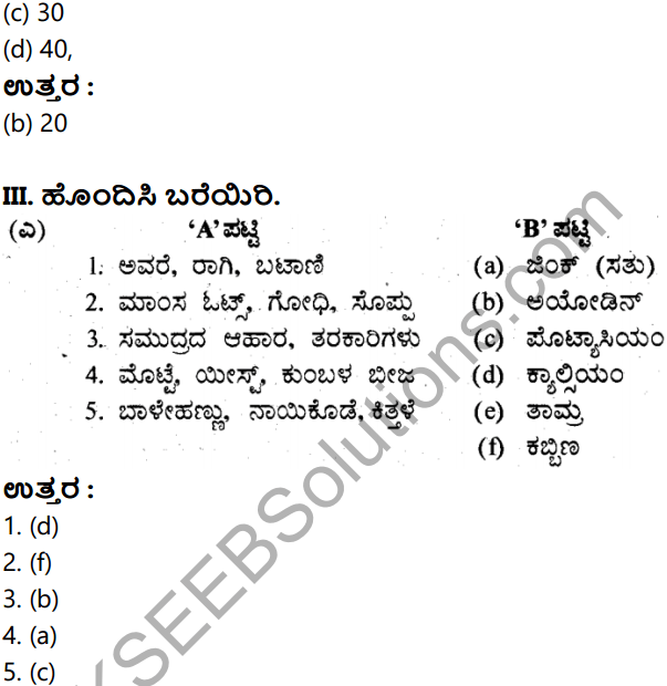 KSEEB Solutions for Class 8 Science Chapter 18 Ahara Mattu