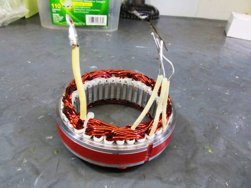 "Stator Coil with Wires: (L) ""Y"" or Center Tap Wire; (R) 3 AC Phase Wires"