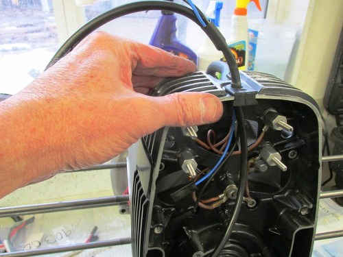 Voltage Regulator Harness Grommet In Slot At Top Of Inner Timing Cover