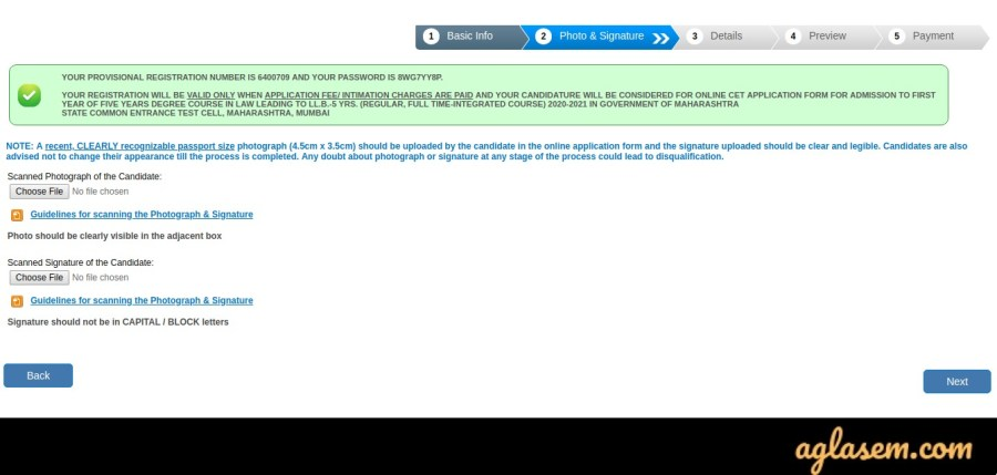 MH CET Law application form
