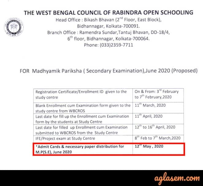 Rabindra Open Schooling Madhyamik Admit Card June 2020