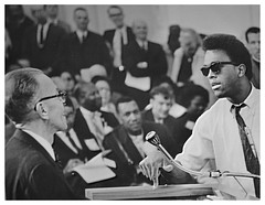 Booker confronts pro-freeway speaker: 1968