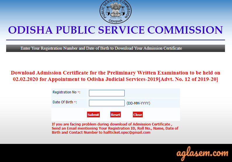 OPSC OJS Admit Card