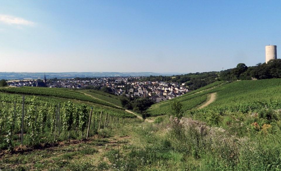 torre del Castillo Scharfenstein y vista de Kiedrich Valle del Rin Alemania 01