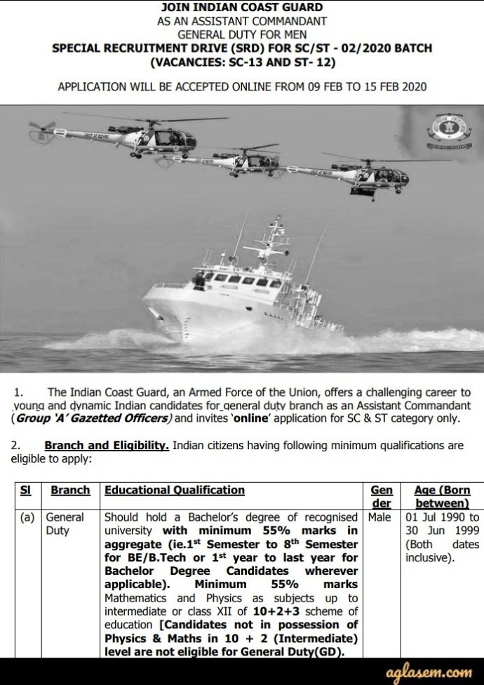 Indian Coast Guard Special Recruitment Drive Notification 2020