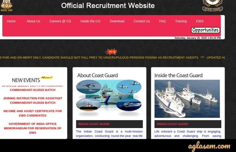Indian Coast Guard Special Recruitment Drive Result 02/2020