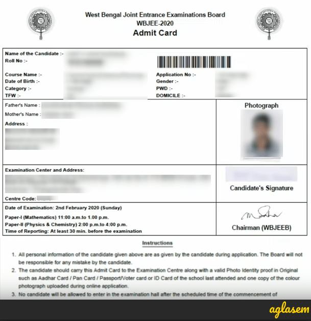 WBJEE 2021 Admit Card
