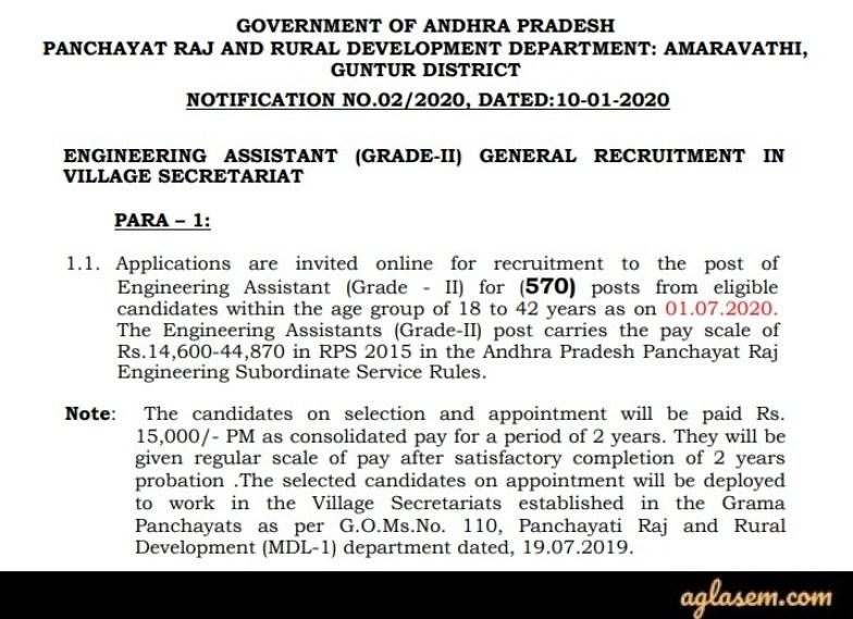 AP Grama Sachivalayam Engineering Assistant Recruitment 2020 Notification
