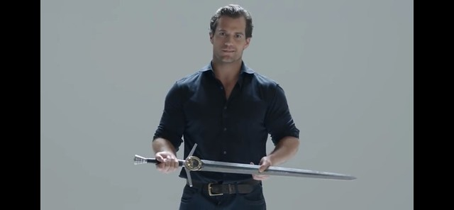 Henry and a sword from The Witcher