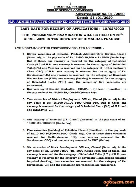 HPPSC HPAS 2020 Notification