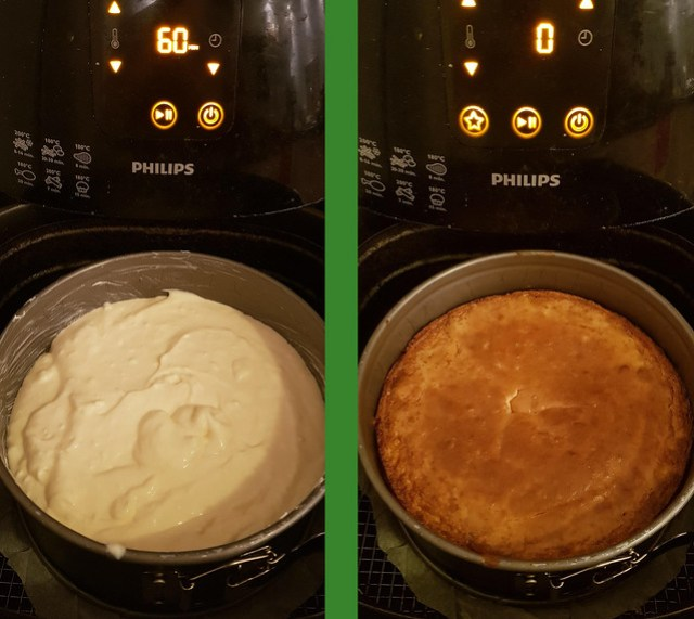 Cheesecake Airfryer before and after