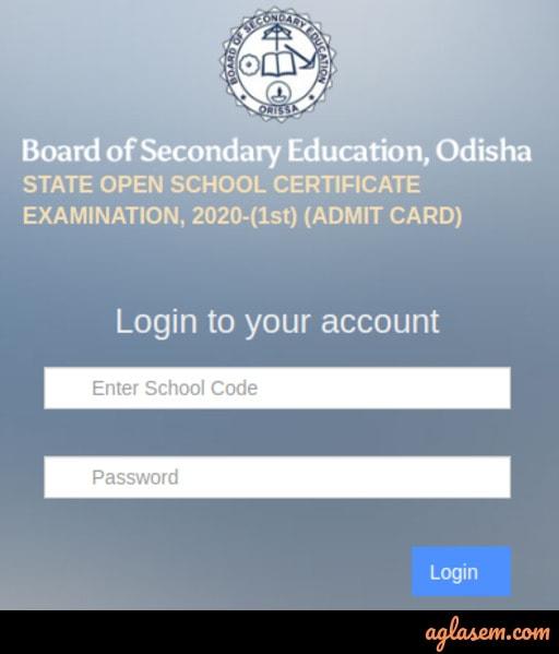Odisha Open School Admit Card 2020