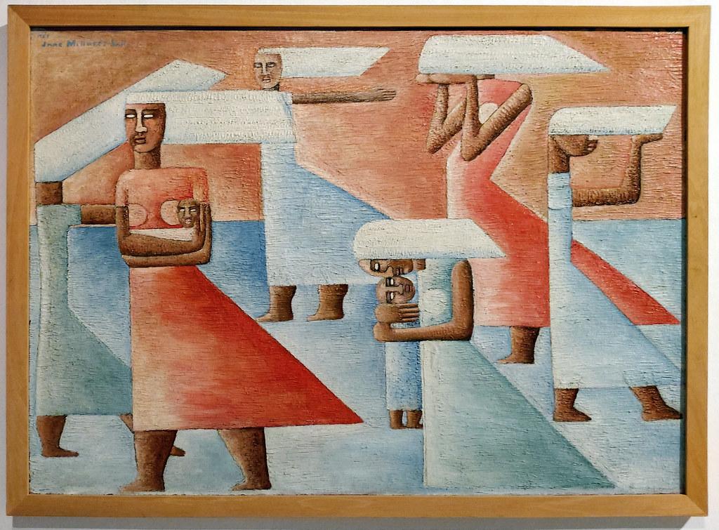 Jane Millares El viento 1957 pintura exposicion Escuela Lujan Perez Las Palmas de Gran Canaria