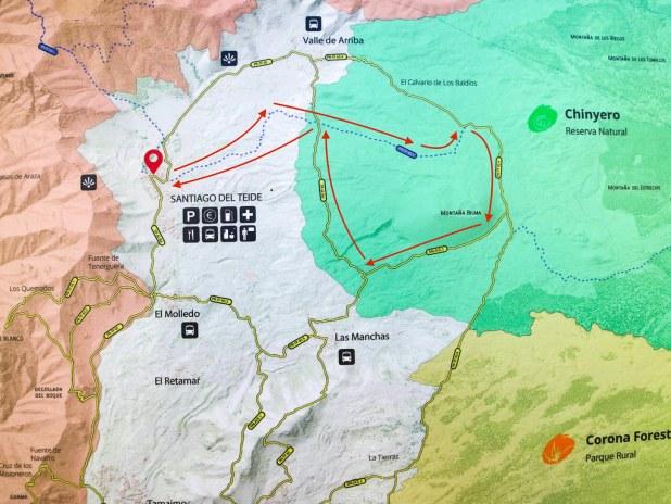 Mapa de la ruta de los almendros en Flor en Tenerife