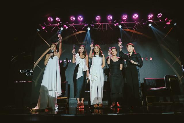 (L-R) Apples Aberin - Head of Marketing and PR Unilever Philippines, Amina Aranaz-Alunan, Lynn Pinugu, Pauline Juan and Karen Davila