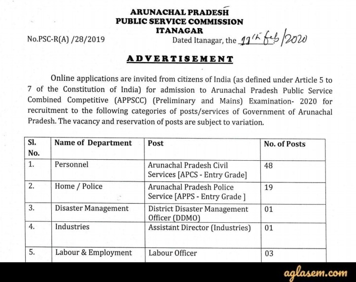 APPSC Arunachal Pradesh Civil Service Exam 2020 Advertisement