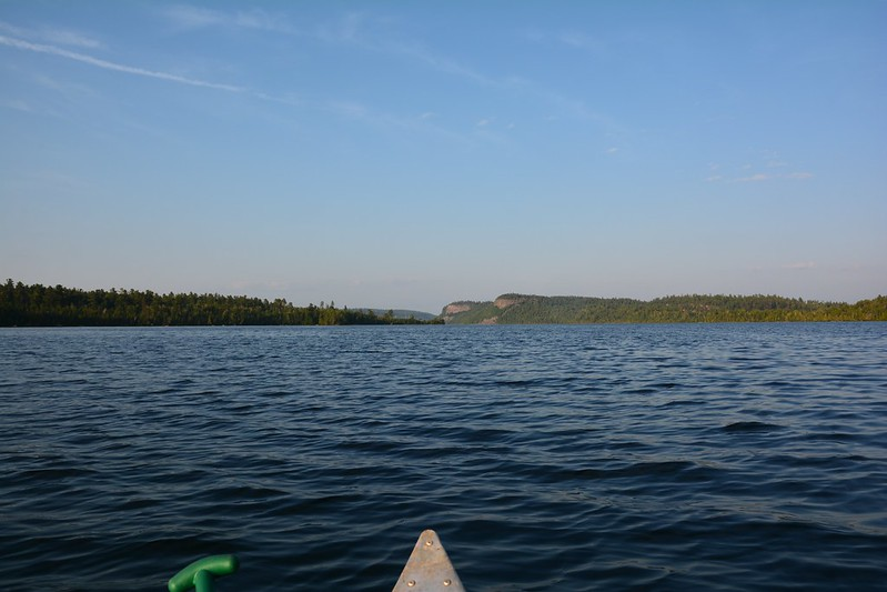 Palisades from canoe level on Clearwater Lake