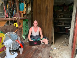 Steven in his exotic digital nomad office