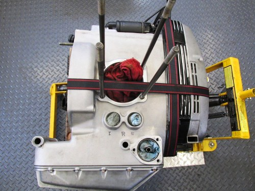 Engine Block Strapped Down To Motorcycle Stand