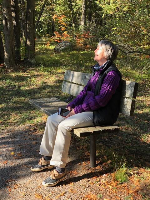 Balsam Lake Linda on a bench