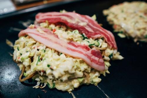 Okonomiyaki at Okaru, Osaka, Japan